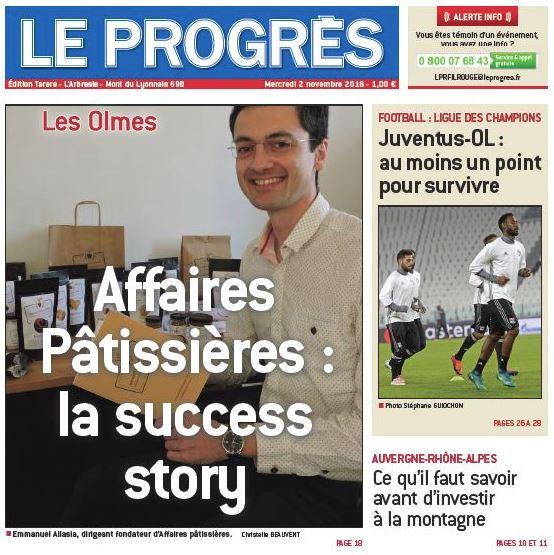 Affaires pâtissières en une du journal Le Progrès