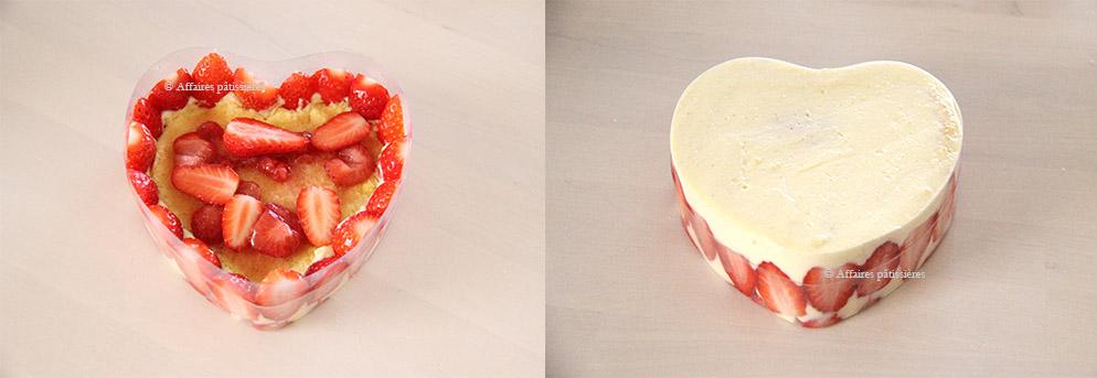 Finalisation des coeurs de fraisiers Affaires pâtissières