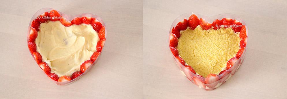 Montage des coeurs de fraisiers Affaires pâtissières