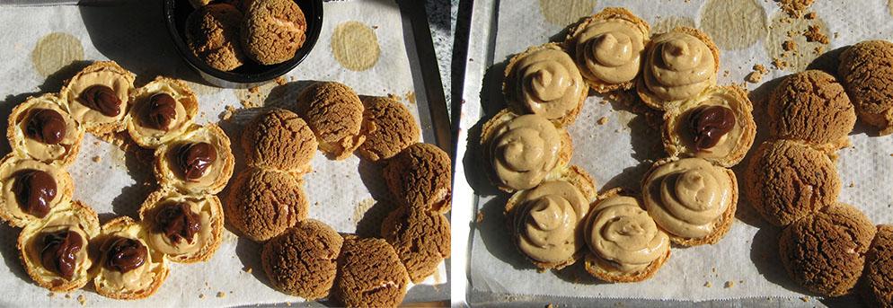 Garniture des choux avec la crème au praliné Affaires pâtissières